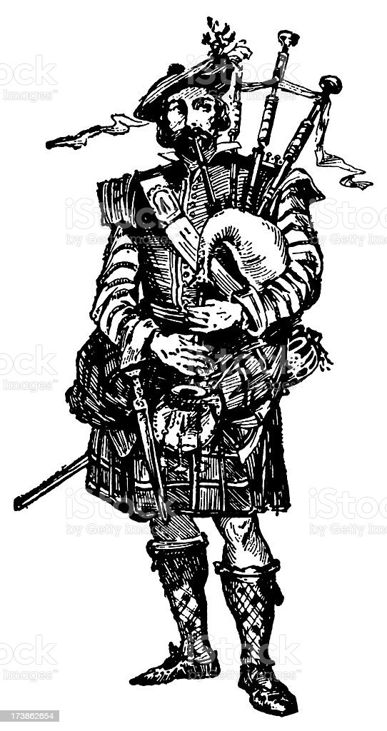 Vintage Clip Art and Illustrations | Scottish Bagpiper royalty-free stock vector art
