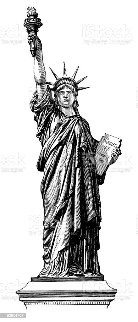 Vintage Clip Art and Illustrations | Statue of Liberty royalty-free stock vector art