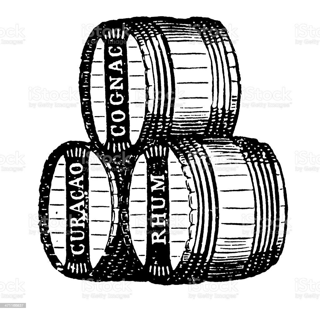 Vintage Clip Art and Illustrations | Wine Barrels vector art illustration