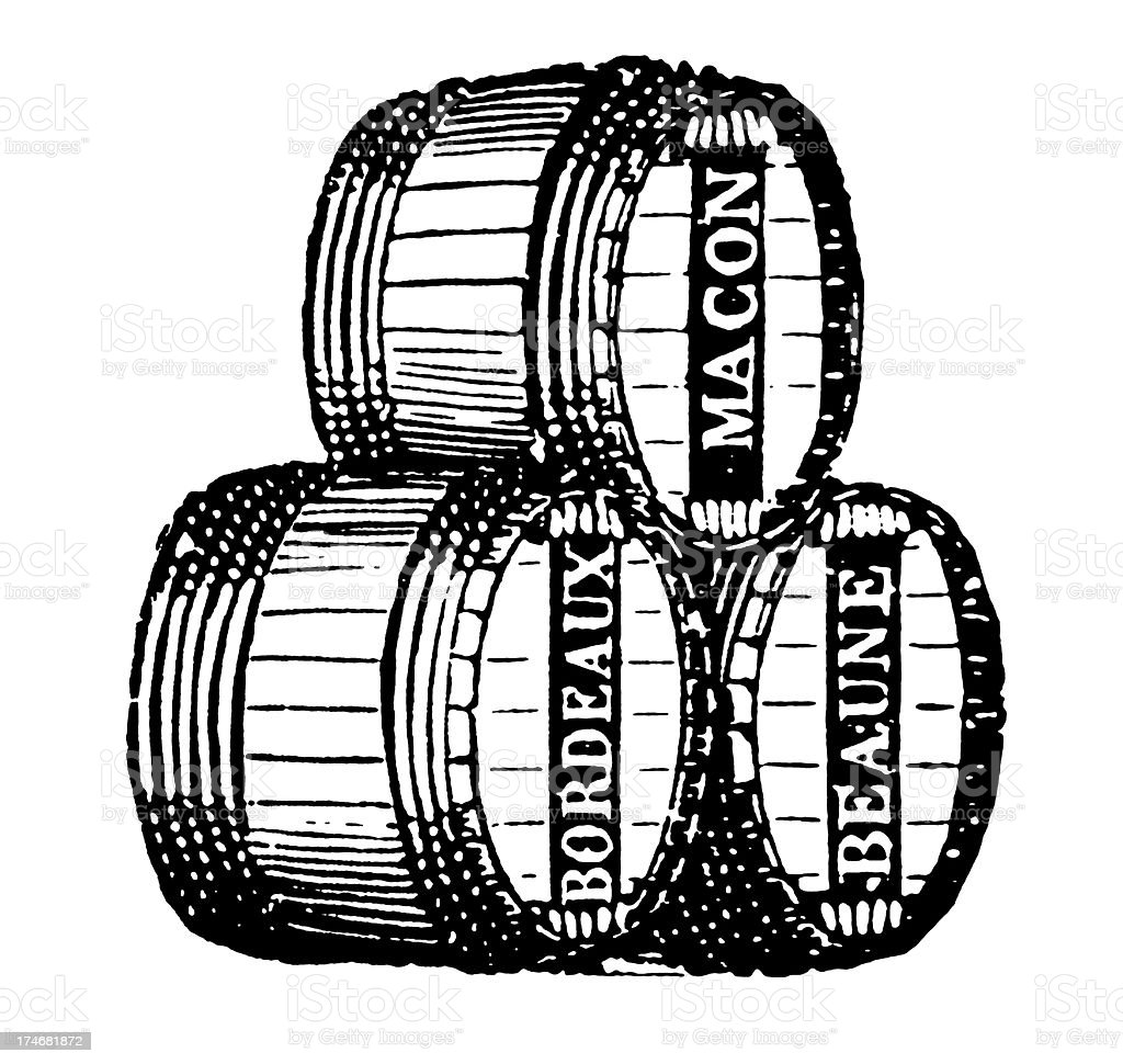Vintage Clip Art and Illustrations | Wine Barrels with Labels royalty-free stock vector art