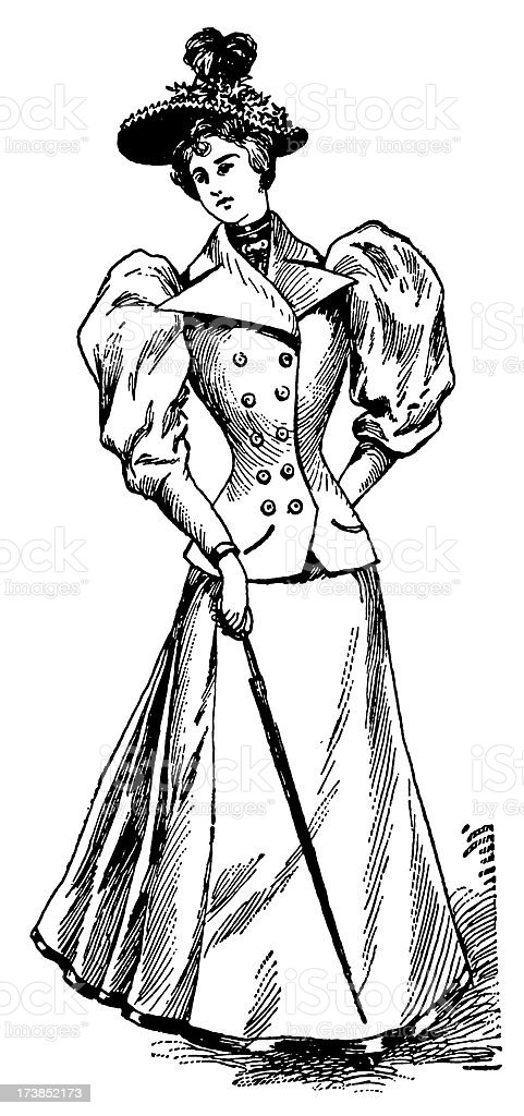 Vintage Clip Art and Illustrations | Woman in Period Costume royalty-free stock vector art
