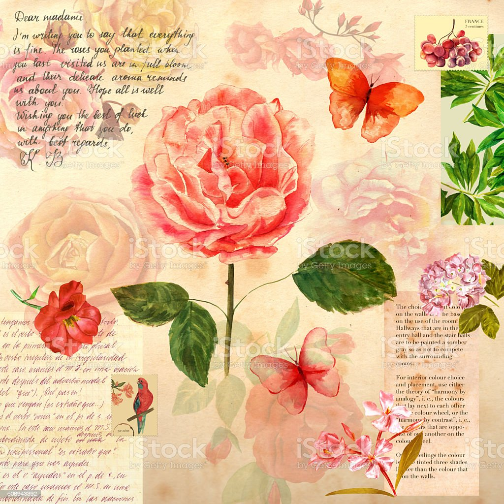 Vintage collage with roses, butterflies, and scraps of aged papers vector art illustration