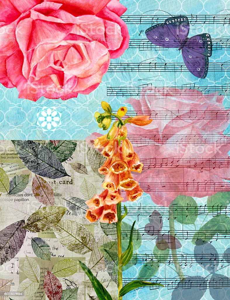 Vintage collage with roses, sheet music, bellflower et al vector art illustration