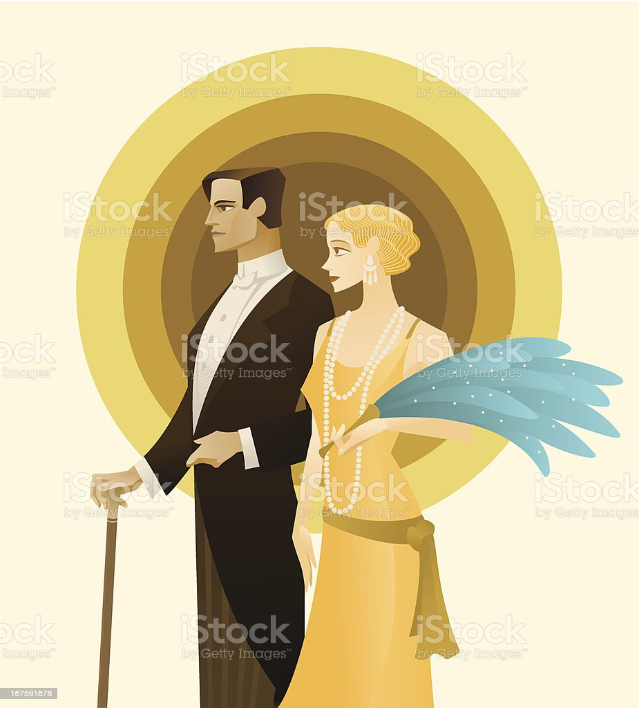 Vintage Couple. Roaring Twenties vector art illustration