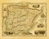 Vintage Decorative Map of Spain and Portugal (XXXL Resolution Image)