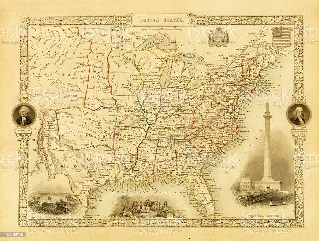 Vintage Decorative Map of USA (XXXL Resolution Image) vector art illustration