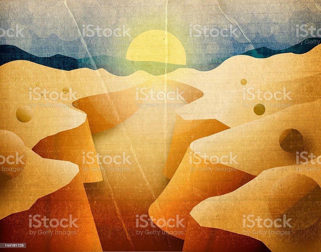 Vintage Desert Sunset royalty-free stock vector art