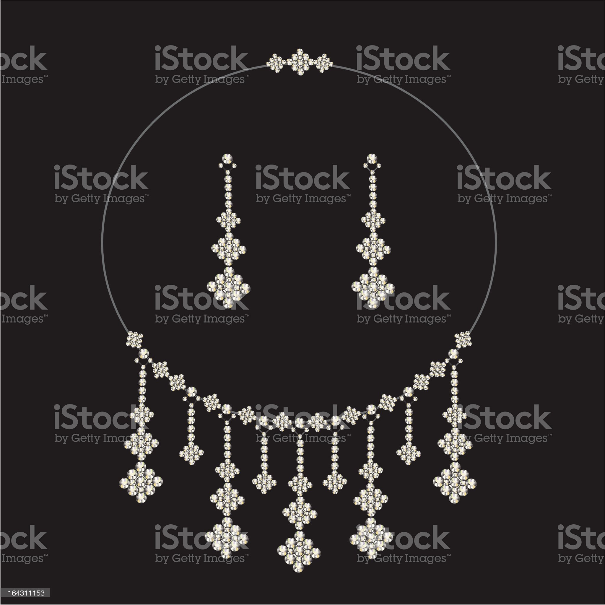 vintage diamond necklace set with earrings - jewellery royalty-free stock vector art