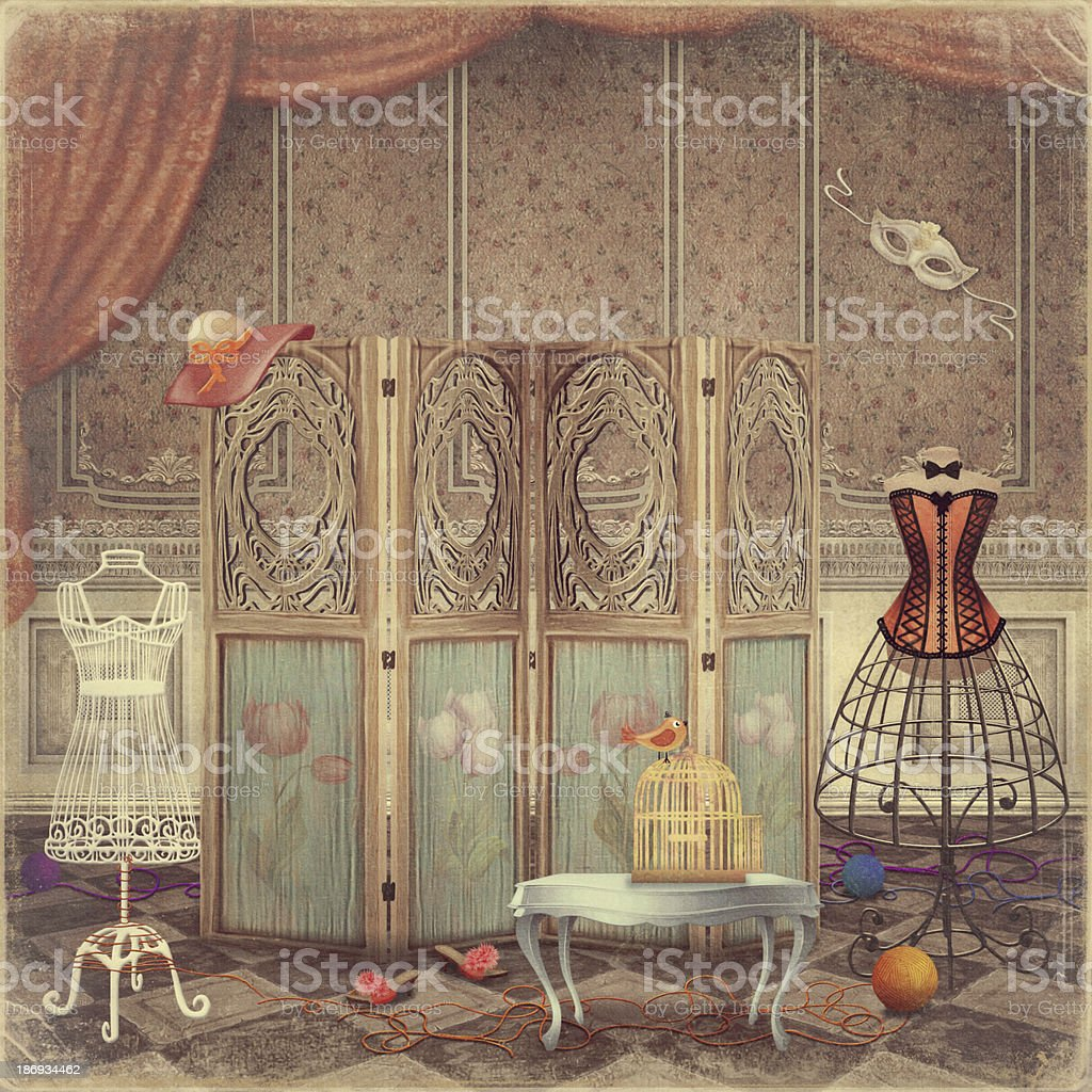 Vintage dummy and a screen in the room,fashionable vector art illustration