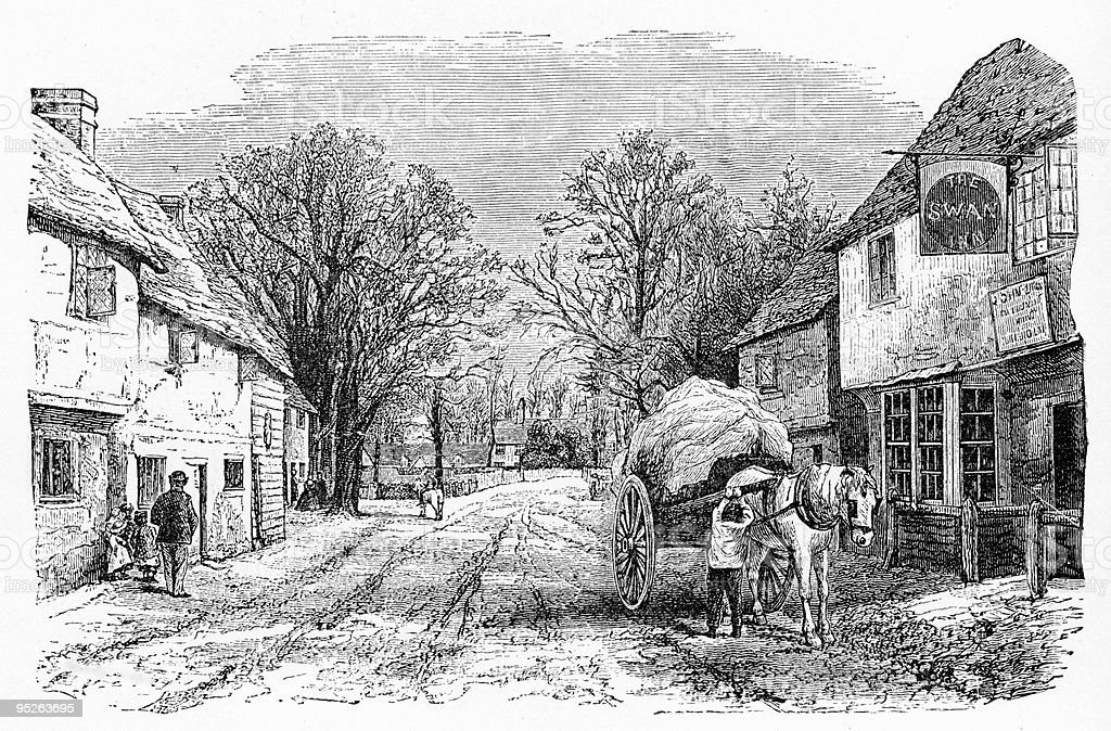 Vintage Engraving of Elstow, England vector art illustration