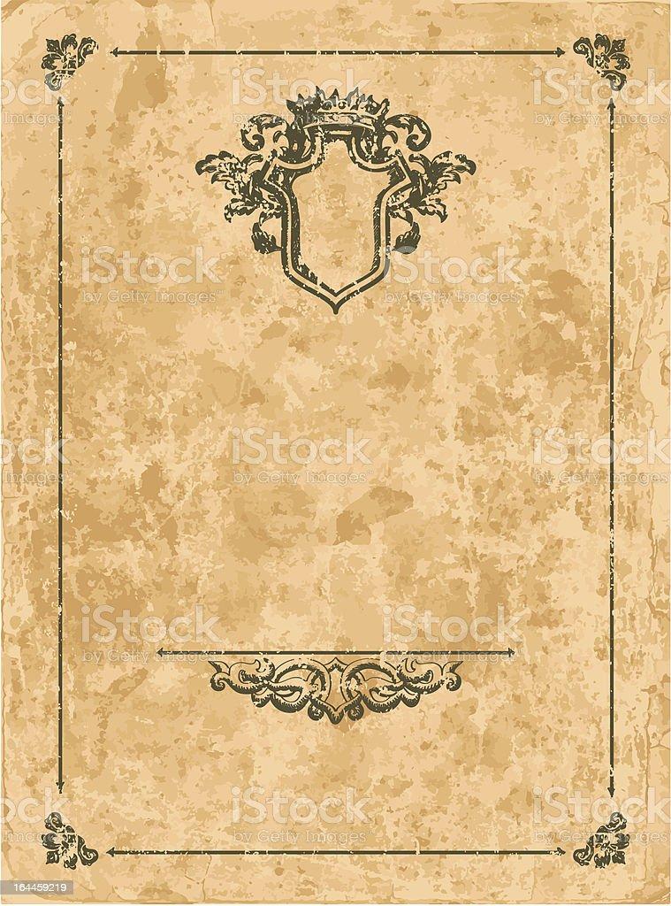 Vintage frame on old paper sheet royalty-free stock vector art