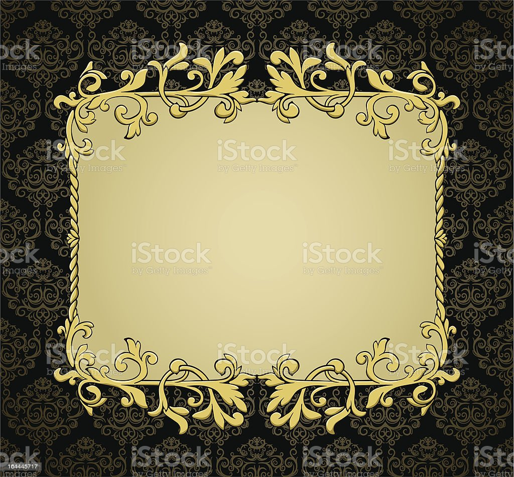 Vintage frame on seamless damask background. royalty-free stock vector art