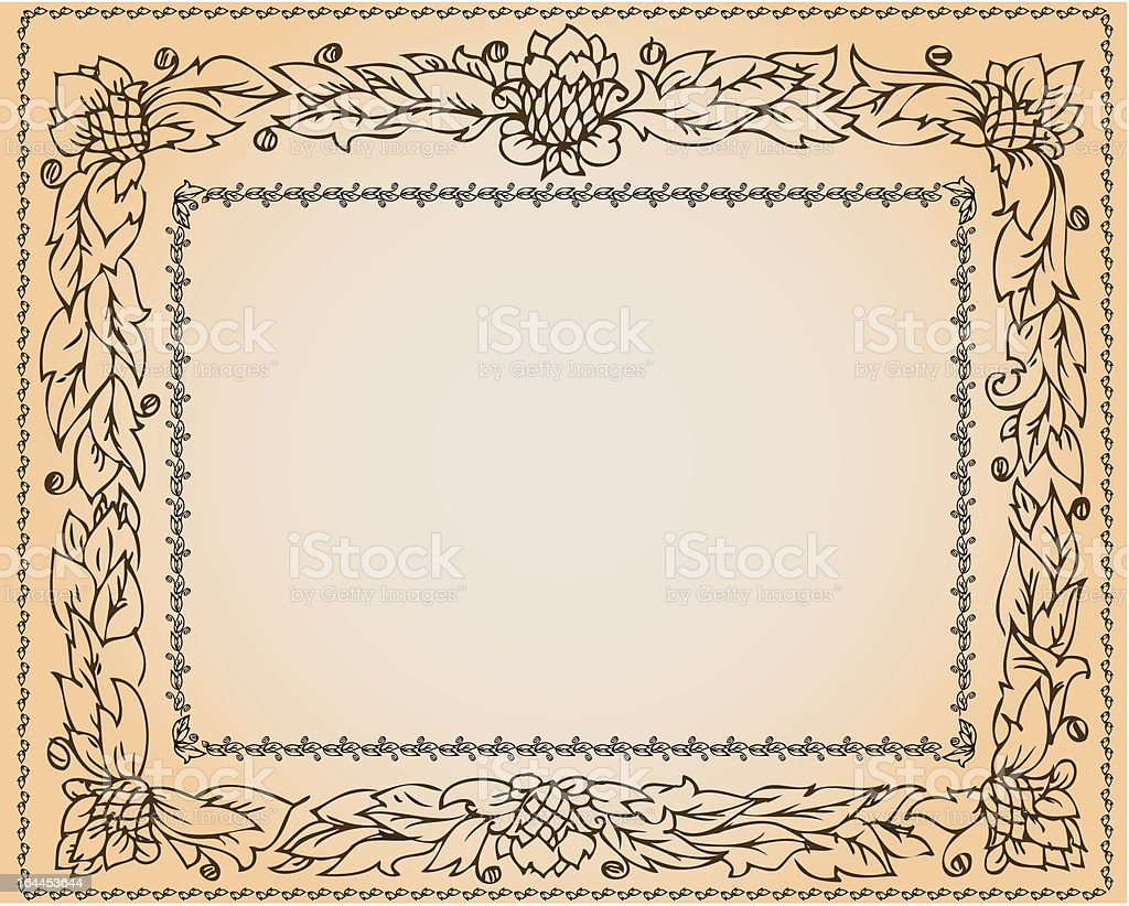 vintage frame with floral ornament royalty-free stock vector art