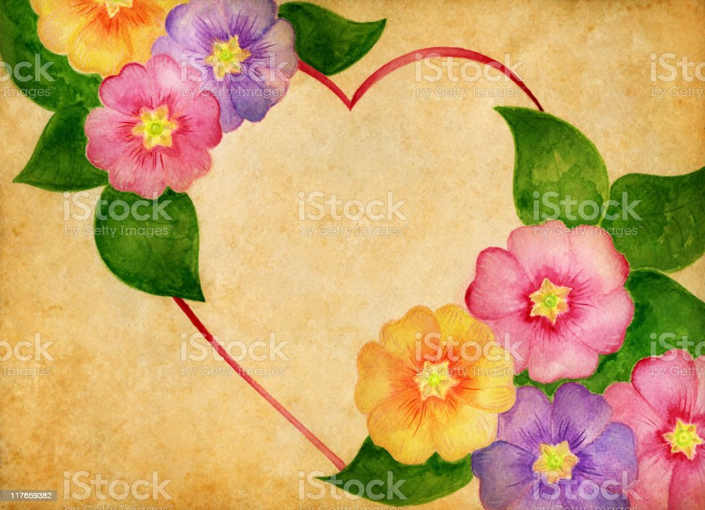 vintage heart frame with flowers royalty-free stock vector art