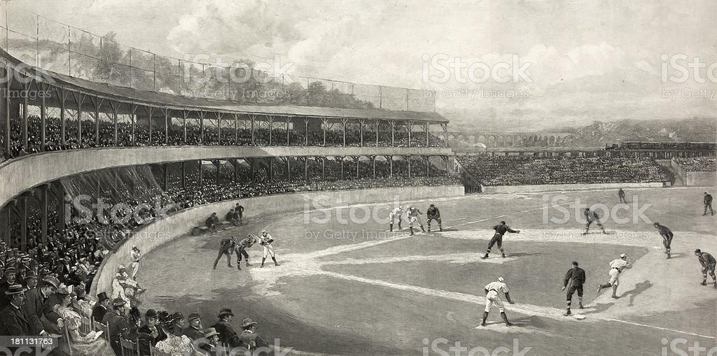 Vintage Illustration of a Baseball Game royalty-free stock vector art