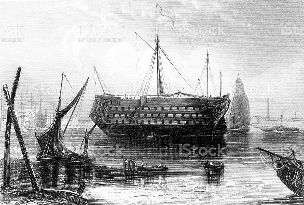 Vintage Illustration of Tall Ship Dreadnought at Port in Deptford royalty-free stock vector art