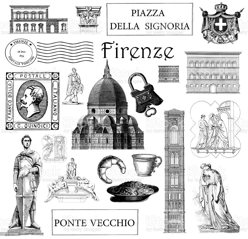 Vintage Illustrations Landmarks and Symbols of Florence Italy Set vector art illustration