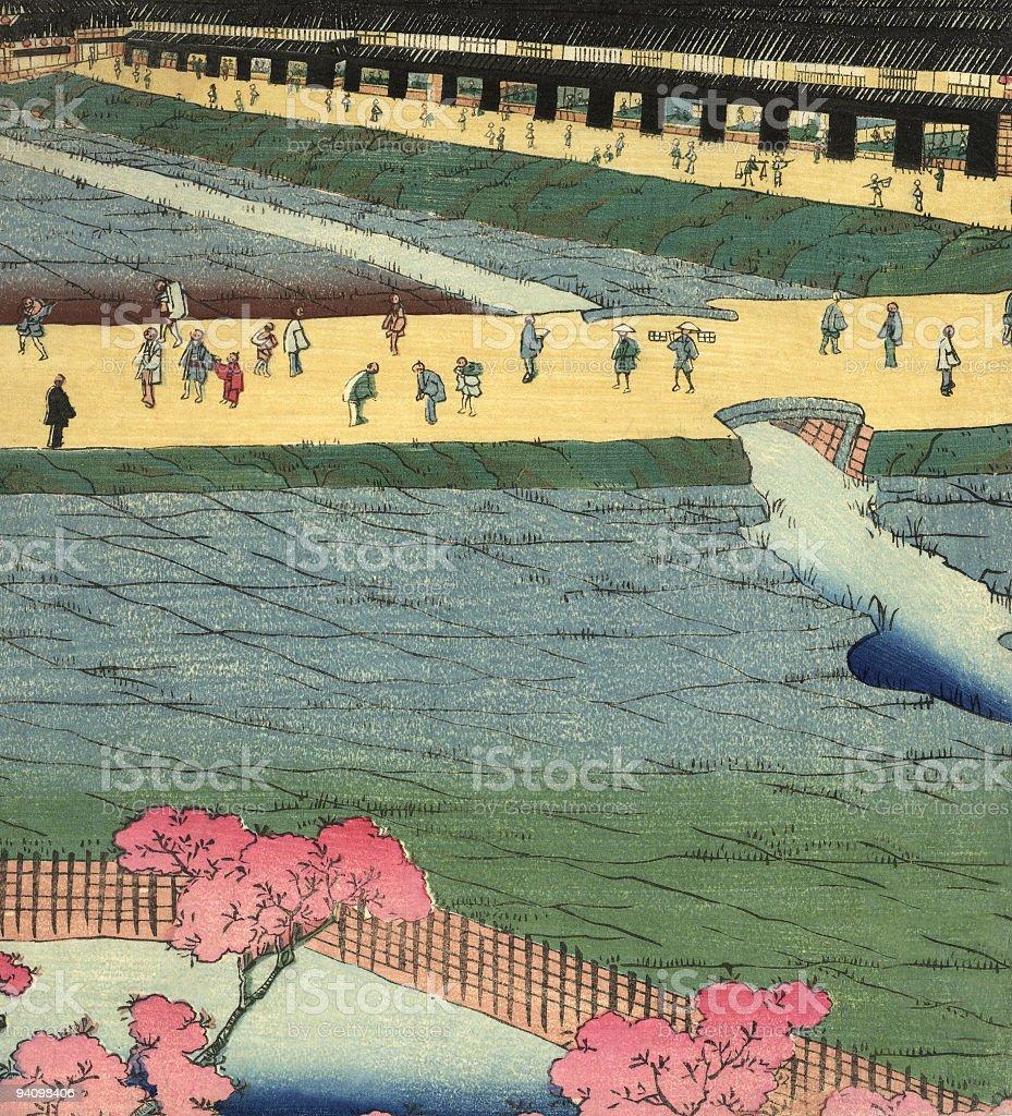 Vintage Japanese Woodblock Circa 1800 vector art illustration