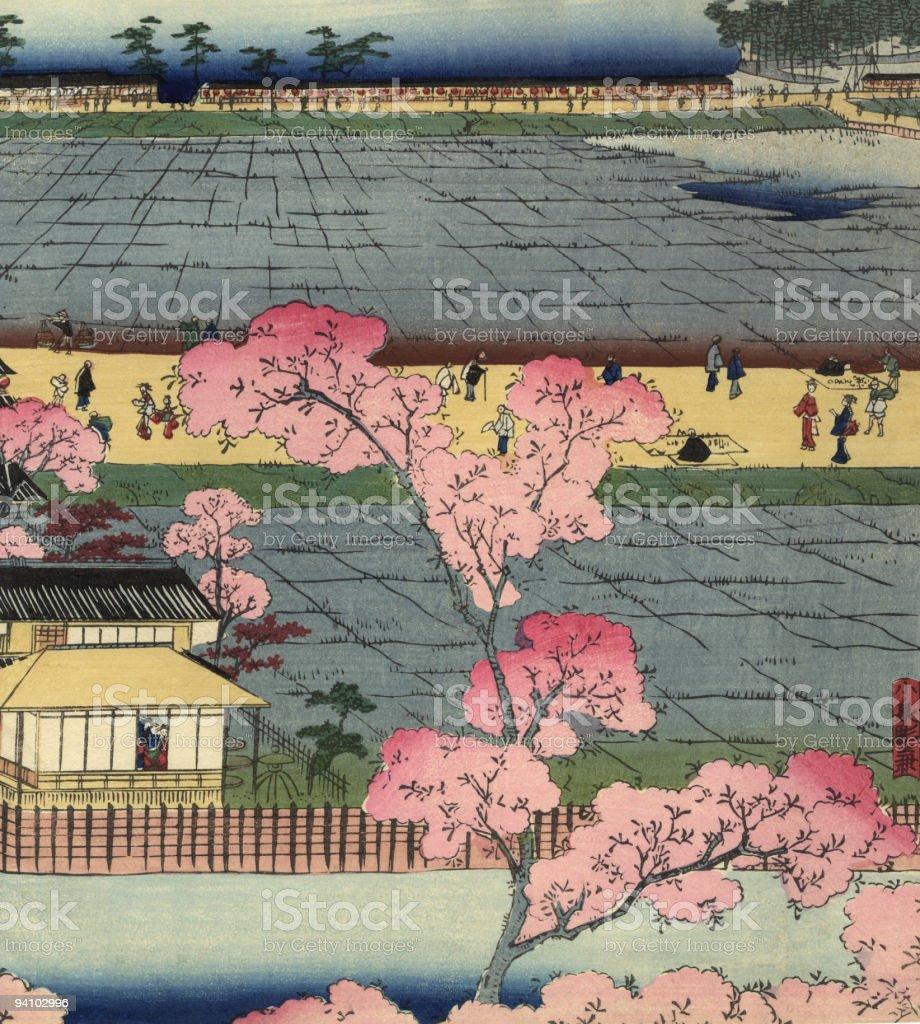 Vintage Japanese Woodblock Circa 1800 royalty-free stock vector art