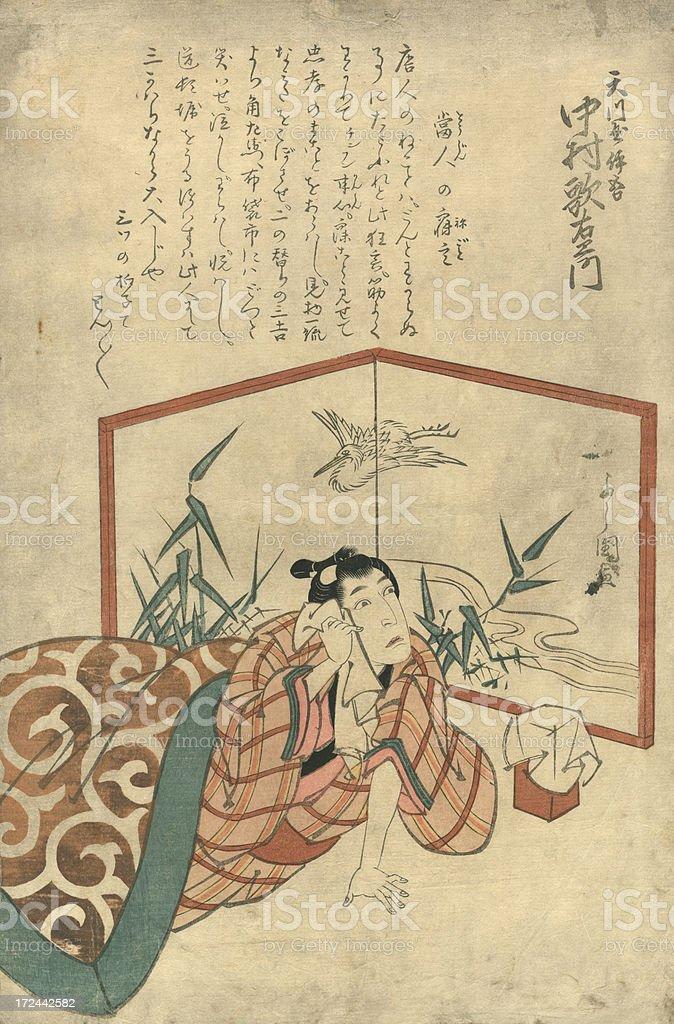 Vintage Japanese Woodblock print of Actor royalty-free stock vector art