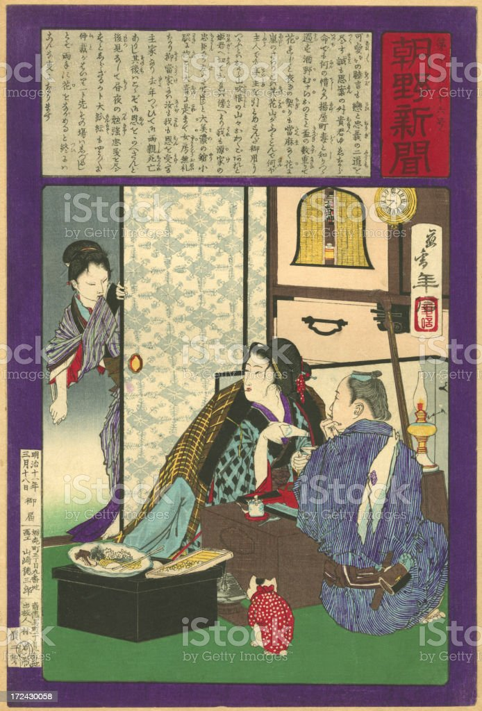 Vintage Japanese Woodblock print of House Interior royalty-free stock vector art