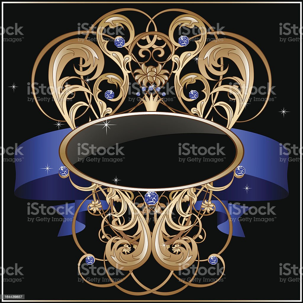 Vintage label with blue banner, jewels, floral ornament and frame royalty-free stock vector art