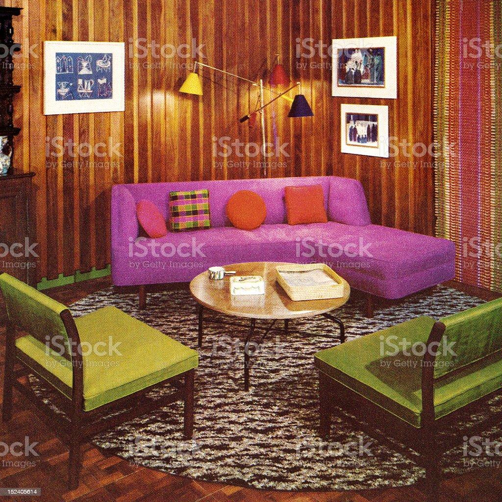 Vintage Livingroom royalty-free stock vector art
