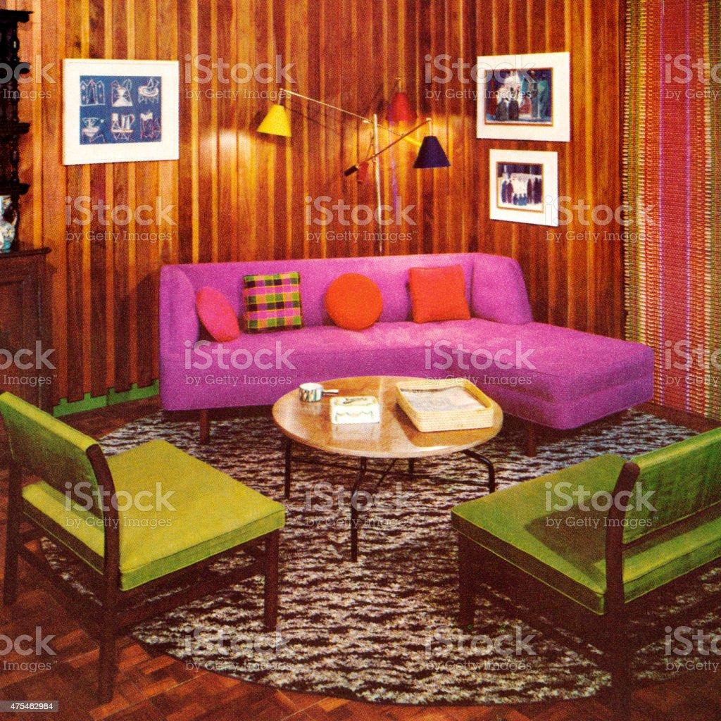 Vintage Livingroom vector art illustration