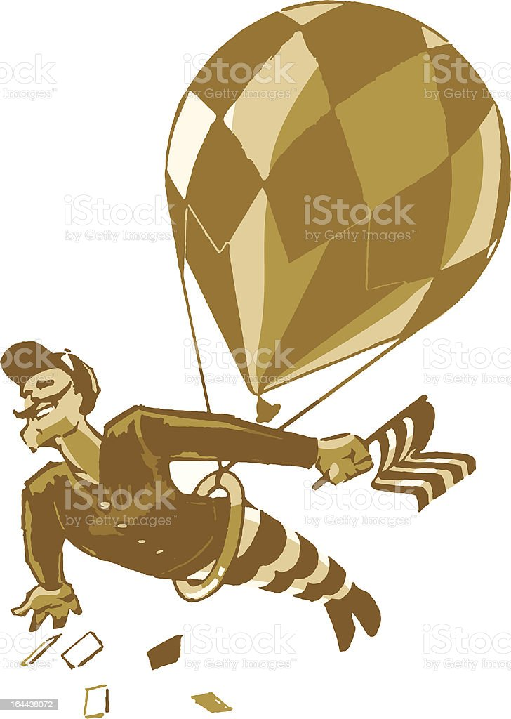 Vintage Male Acrobat with Balloon and Flag royalty-free stock vector art