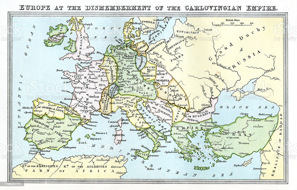 Vintage map 9th century Europe - Carolingian Empire vector art illustration