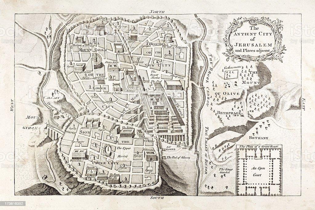 Vintage Map of Jerusalem 1783 vector art illustration