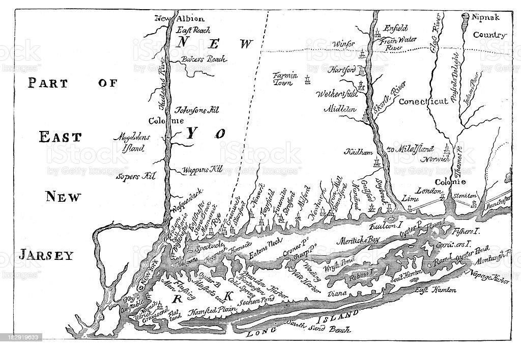 Vintage Map of New York vector art illustration