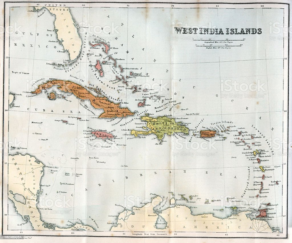 Vintage map of the West India Islands 1860s vector art illustration