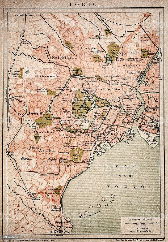 Vintage map of Tokyo vector art illustration