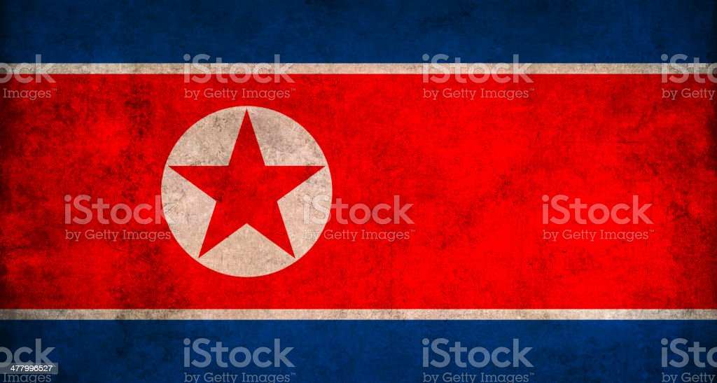 Vintage North Korea Flag stock photo