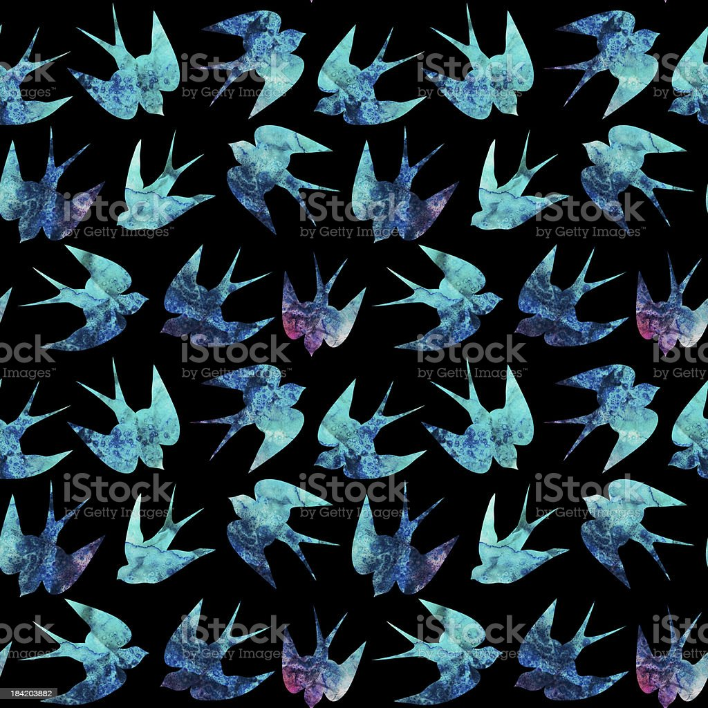 vintage pattern with little swallows royalty-free stock vector art
