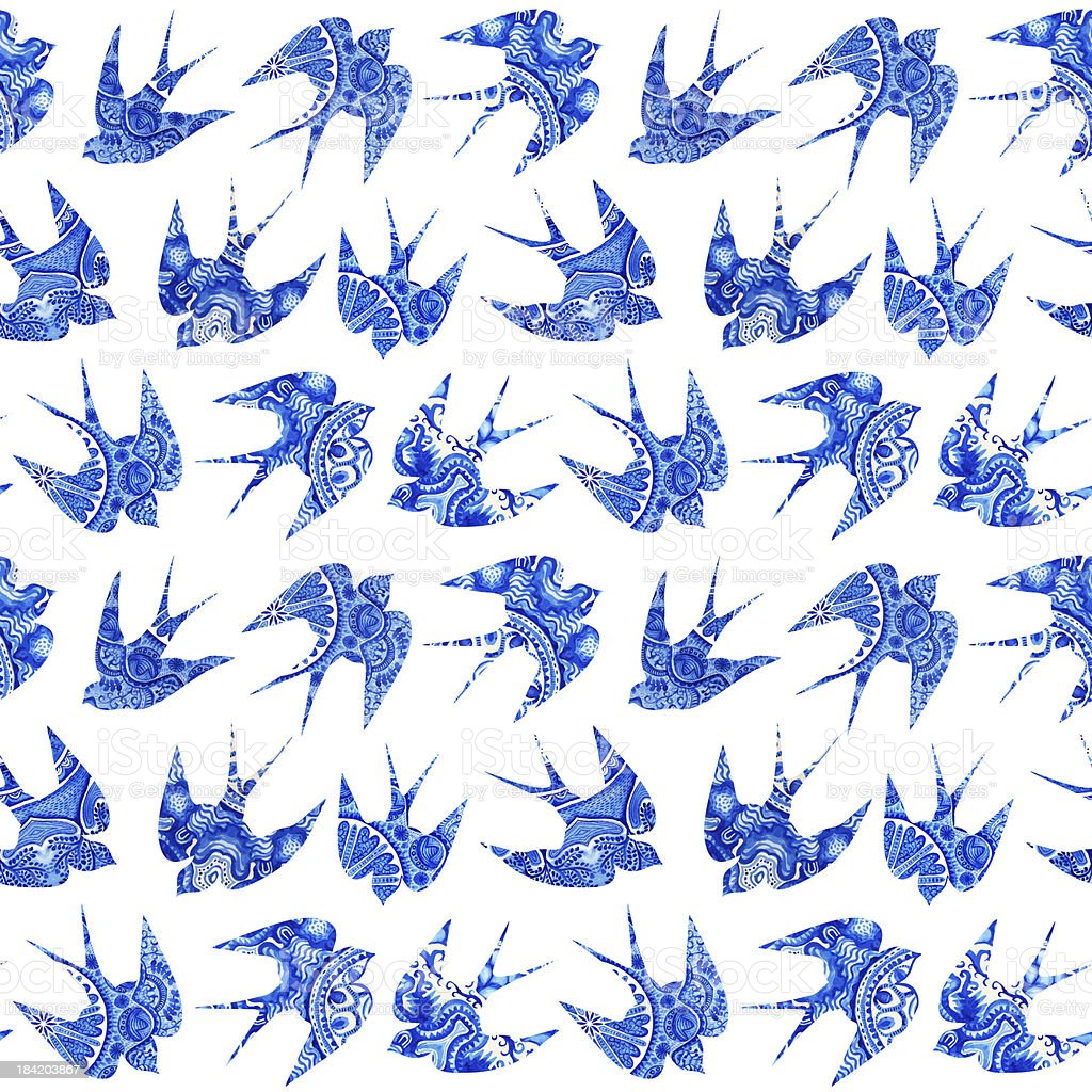 vintage pattern with little swallows, seamless  bird royalty-free stock vector art
