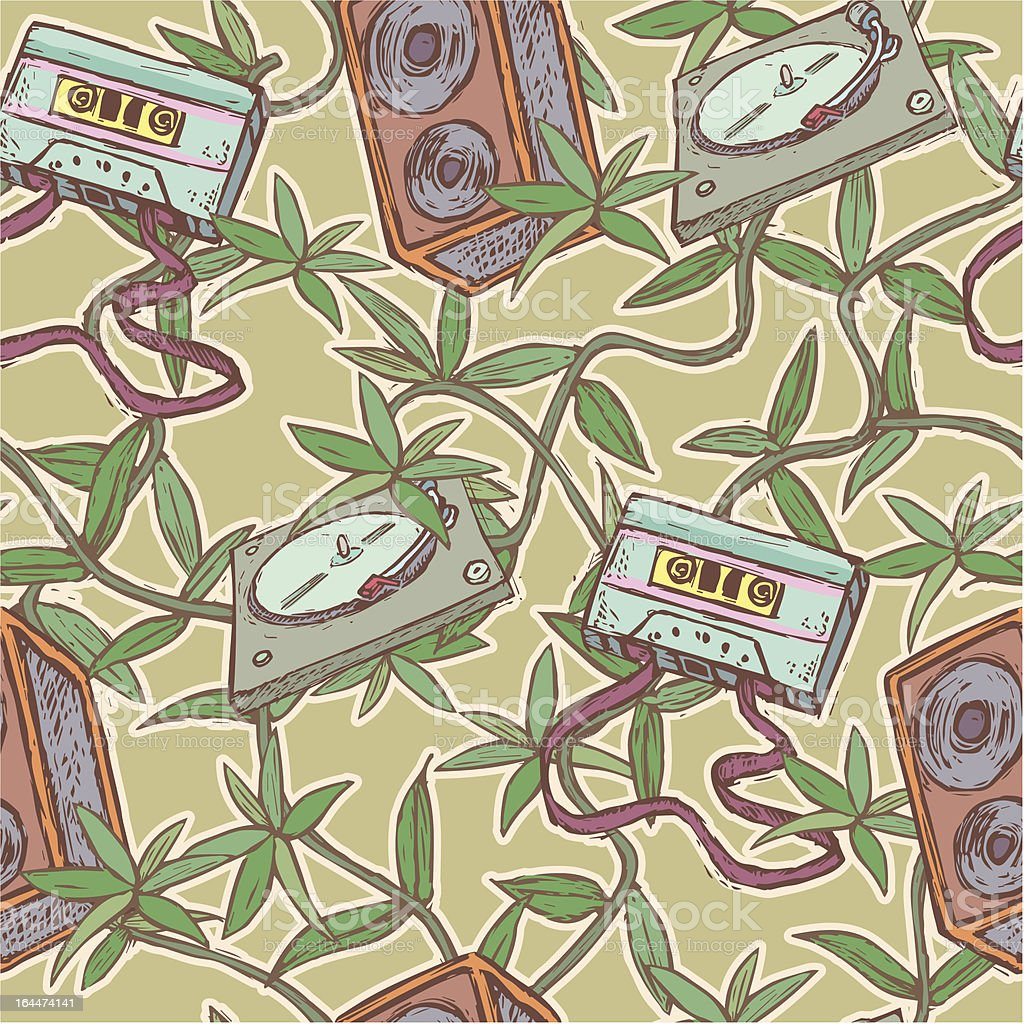 Vintage pattern with musical items royalty-free stock vector art