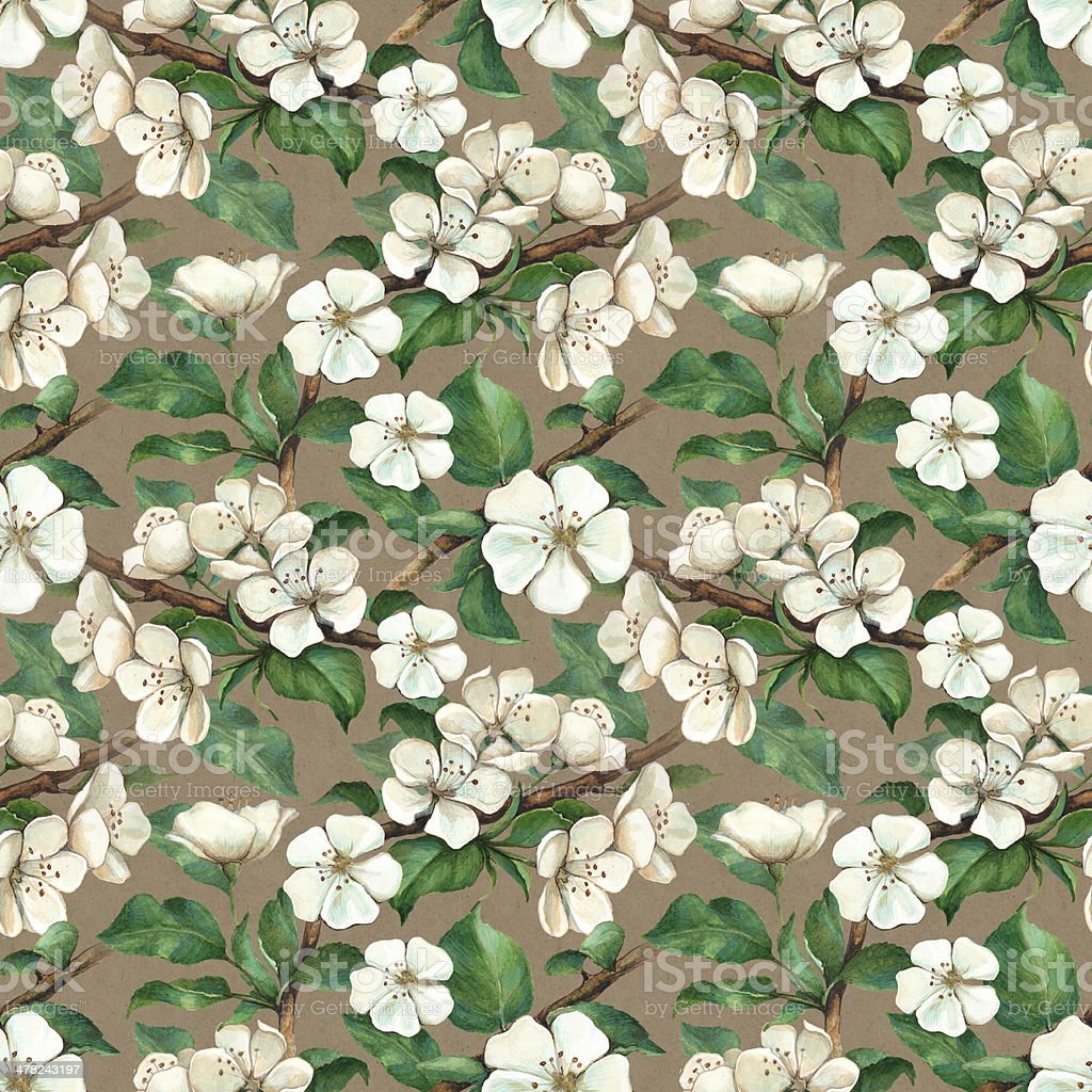 Vintage pattern with watercolor apple flowers royalty-free stock vector art
