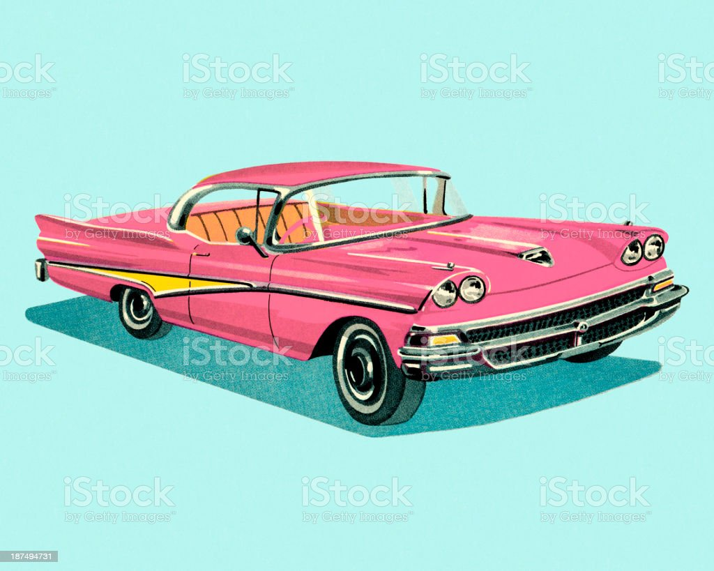 Vintage Pink Car royalty-free stock vector art