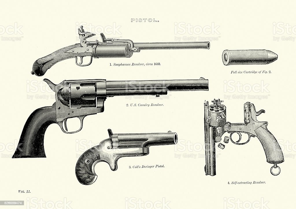 Vintage Pistols and Revolvers vector art illustration