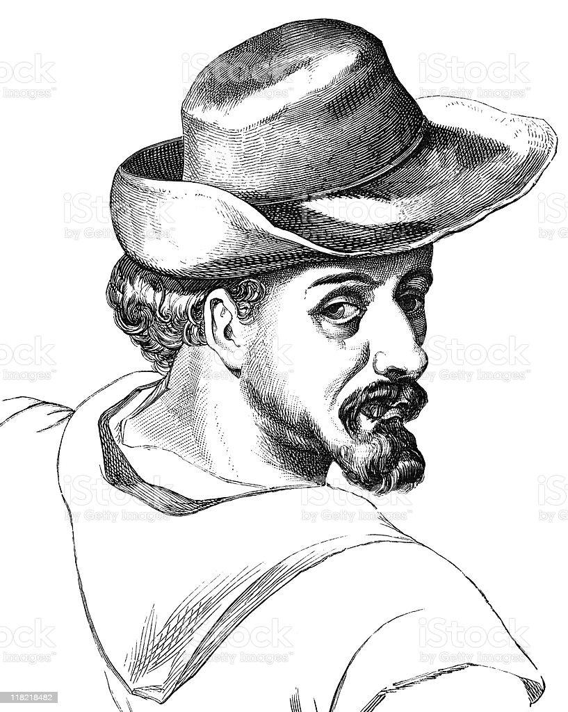 Vintage Portrait of Miguel de Cervantes royalty-free stock vector art