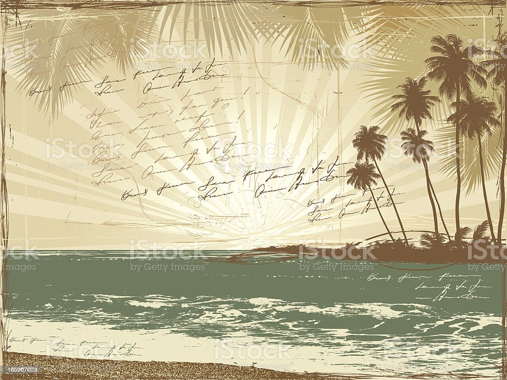 Vintage Postcard, palms, sea, doodle poetry royalty-free stock vector art