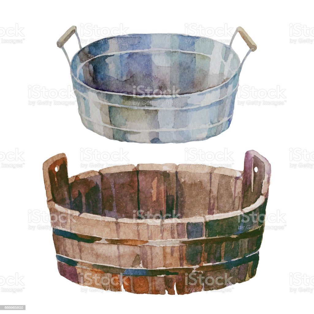 Vintage rustic tubs vector art illustration