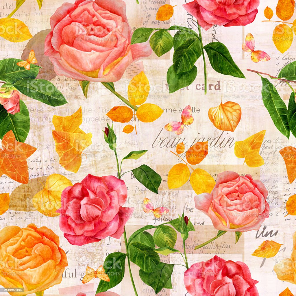 Vintage seamless pattern with roses, camellias and old ephemera vector art illustration