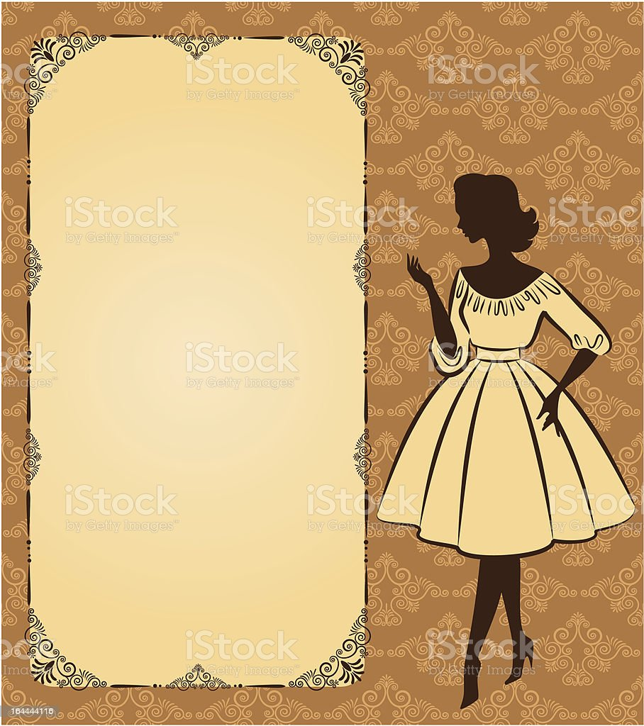 Vintage silhouette of girl on tapestry background. Vector royalty-free stock vector art