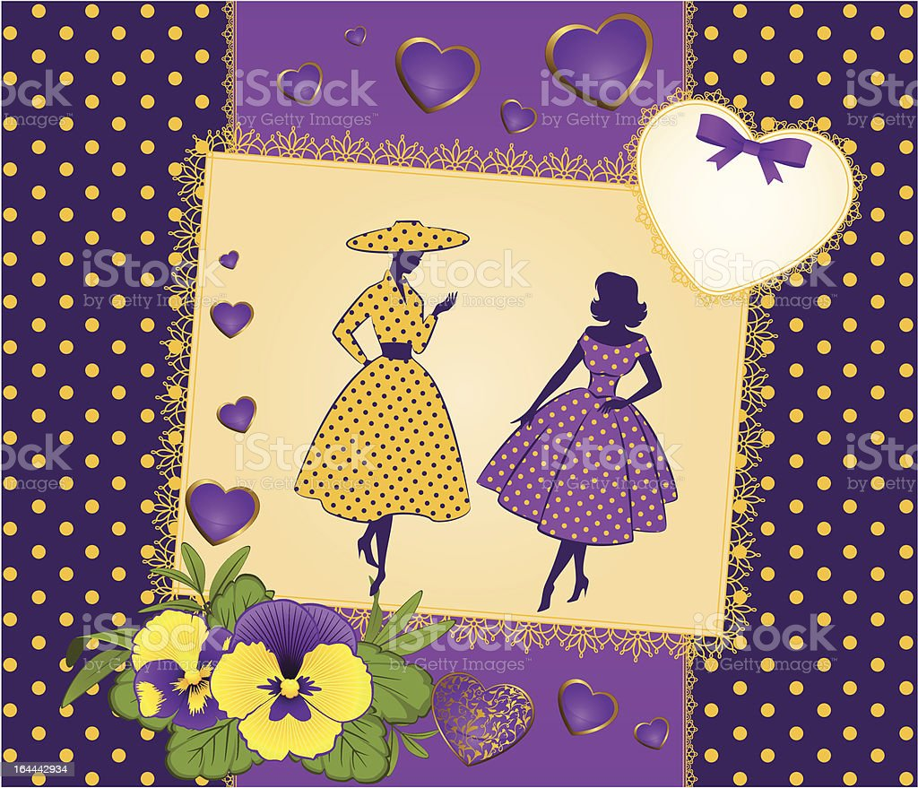 Vintage silhouette of girls on tapestry background with flowers. Vector royalty-free stock vector art