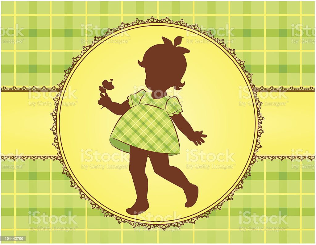 Vintage silhouettes of little girl in dress. Vector royalty-free stock vector art