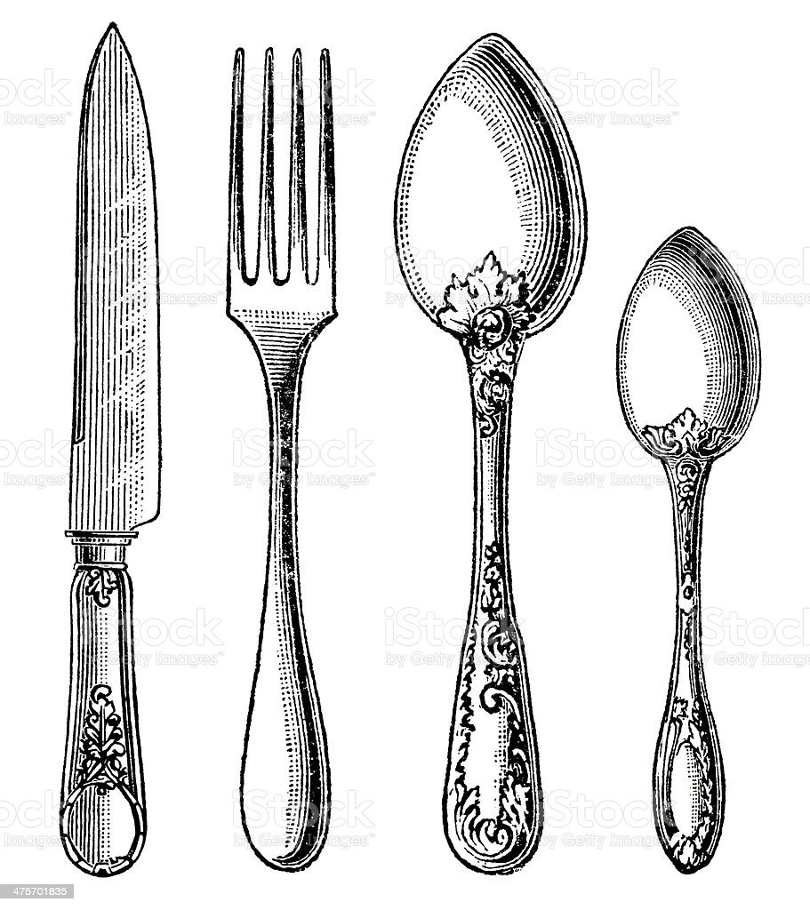 Vintage silverware. Knife, Fork and Spoon vector art illustration