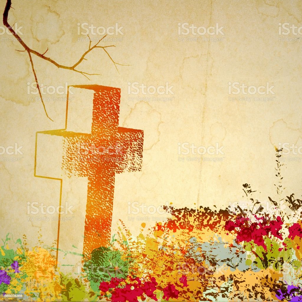Vintage stone cross nameless on old stained paper. stock photo
